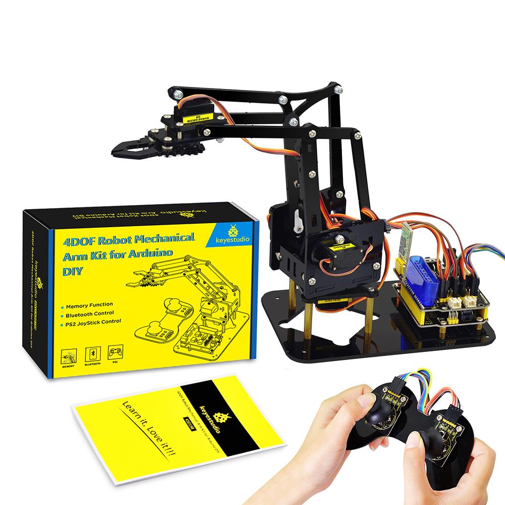 זרוע-רובוטית-מכנית-4-צירים-להרכבה-אישית-ניתנת-לתכנות-ושליטה-מרחוק-ומבוססת-לוח-ארדואינוKeyestudio-4DOF-Robot-Mechanical-DIY-Arm-Kit-forArduino--1
