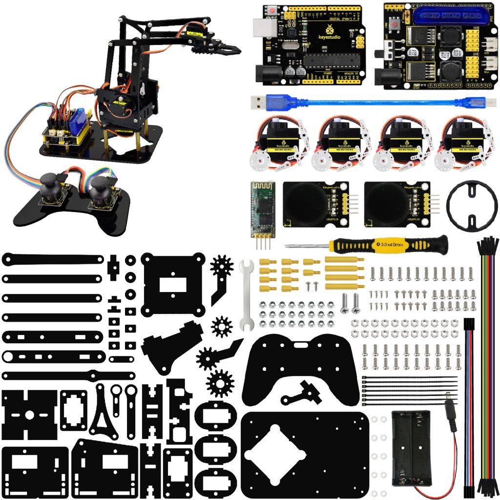 זרוע רובוטית מכנית 4 צירים להרכבה אישית ניתנת לתכנות ושליטה מרחוק ומבוססת לוח ארדואינוKeyestudio 4DOF Robot Mechanical DIY Arm Kit forArduino -4