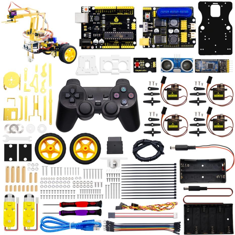 ערכת תכנות ואלקטרוניקה מבוססת ארדואינו לבניית זרוע מכנית רובוטית ממונעת חשמלית 4DOF Mechanical Arm Robot Car מבית Keystudio - 3