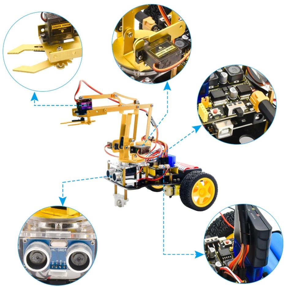 ערכת תכנות ואלקטרוניקה מבוססת ארדואינו לבניית זרוע מכנית רובוטית ממונעת חשמלית 4DOF Mechanical Arm Robot Car מבית Keystudio - 6