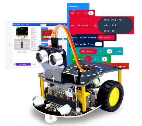 bitbagz microbit robotic programmble car for kids - מכונית רובוטית לתכנות לילדים עם מיקרוביט