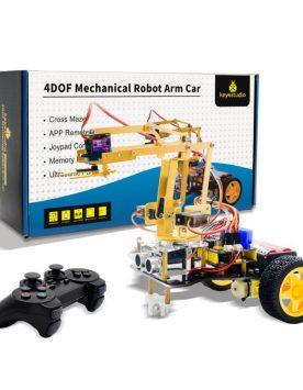 ערכת-תכנות-ואלקטרוניקה-מבוססת-ארדואינו-לבניית-זרוע-מכנית-רובוטית-ממונעת-חשמלית-4DOF-Mechanical-Arm-Robot-Car-מבית-Keystudio---4